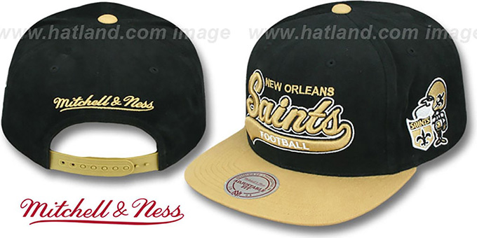 Saints '2T TAILSWEEPER SNAPBACK' Black-Gold Hat by Mitchell & Ness : pictured without stickers that these products are shipped with