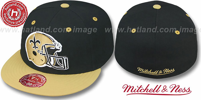 Saints '2T XL-HELMET' Black-Gold Fitted Hat by Mitchell & Ness : pictured without stickers that these products are shipped with