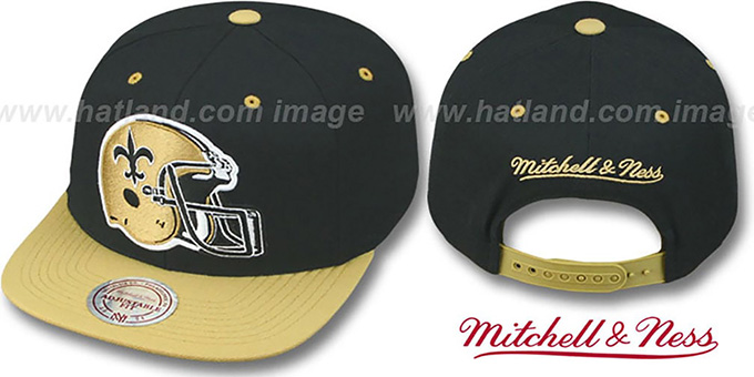 Saints '2T XL-HELMET SNAPBACK' Black-Gold Adjustable Hat by Mitchell & Ness : pictured without stickers that these products are shipped with