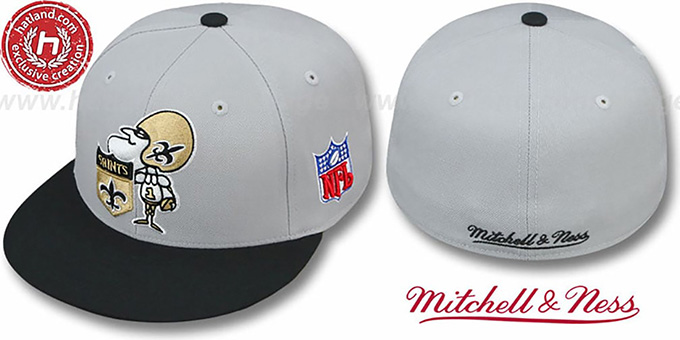 Saints '2T XL-LOGO' Grey-Black Fitted Hat by Mitchell & Ness : pictured without stickers that these products are shipped with