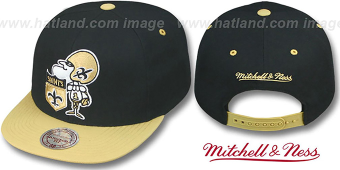 Saints '2T XL-LOGO SNAPBACK 2' Black-Gold Adjustable Hat by Mitchell and Ness : pictured without stickers that these products are shipped with
