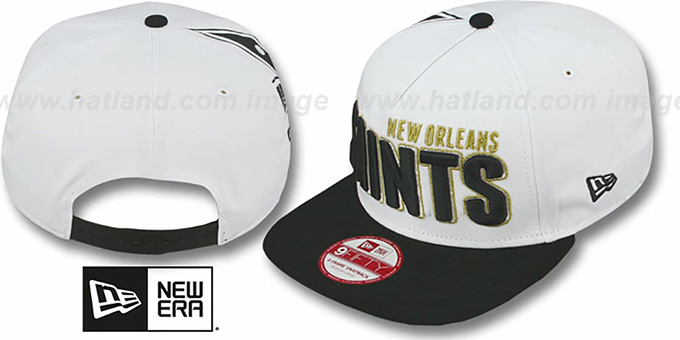 Saints 'BIGSIDE A-FRAME SNAPBACK' White-Black Hat by New Era : pictured without stickers that these products are shipped with