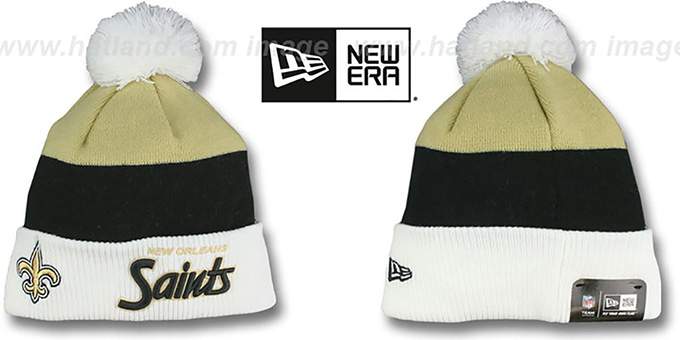 Saints 'CUFF-SCRIPTER' White-Black-Old Gold Knit Beanie Hat by New Era : pictured without stickers that these products are shipped with