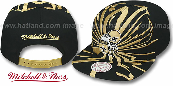 Saints 'EARTHQUAKE SNAPBACK' Black Hat by Mitchell and Ness : pictured without stickers that these products are shipped with
