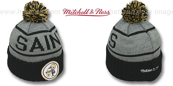 Saints 'HIGH-5 CIRCLE BEANIE' Grey-Black by Mitchell and Ness : pictured without stickers that these products are shipped with