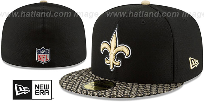 New Orleans Saints HONEYCOMB STADIUM Black Fitted Hat 60f26b6cf81