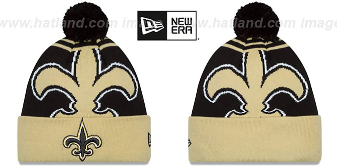 Saints 'LOGO WHIZ' Black-Gold Knit Beanie Hat by New Era : pictured without stickers that these products are shipped with
