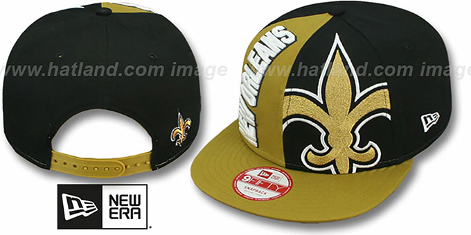 Saints 'NE-NC DOUBLE COVERAGE SNAPBACK' Hat by New Era : pictured without stickers that these products are shipped with