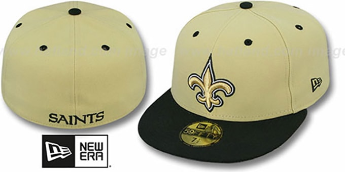 Saints 'NFL 2T-TEAM-BASIC' Gold-Black Fitted Hat by New Era : pictured without stickers that these products are shipped with