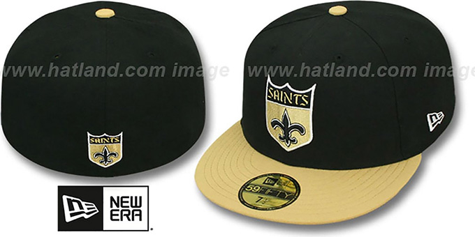 Saints 'NFL 2T THROWBACK TEAM-BASIC' Black-Gold Fitted Hat by New Era : pictured without stickers that these products are shipped with