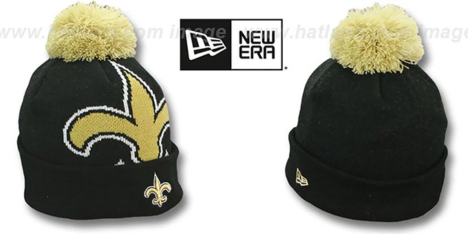 Saints 'NFL-BIGGIE' Black Knit Beanie Hat by New Era : pictured without stickers that these products are shipped with