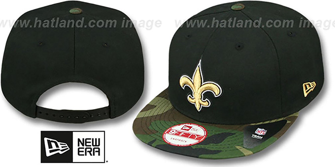 Saints 'NFL CAMO-BRIM SNAPBACK' Adjustable Hat by New Era : pictured without stickers that these products are shipped with