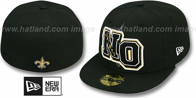 Saints 'NFL FELTN' Black Fitted Hat by New Era : pictured without stickers that these products are shipped with
