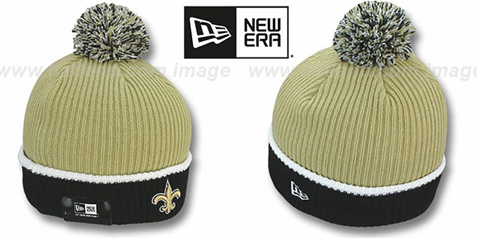 Saints 'NFL FIRESIDE' Gold-Black Knit Beanie Hat by New Era : pictured without stickers that these products are shipped with