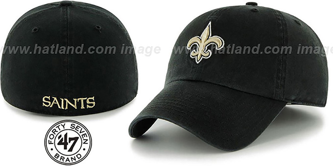Saints 'NFL FRANCHISE' Black Hat by 47 Brand : pictured without stickers that these products are shipped with