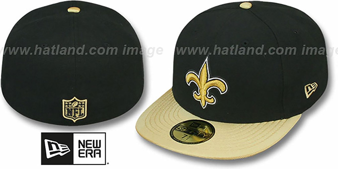Saints 'NFL JERSEY-BASIC' Black-Gold Fitted Hat by New Era : pictured without stickers that these products are shipped with