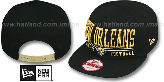Saints 'NFL LATERAL SNAPBACK' Black Hat by New Era : pictured without stickers that these products are shipped with