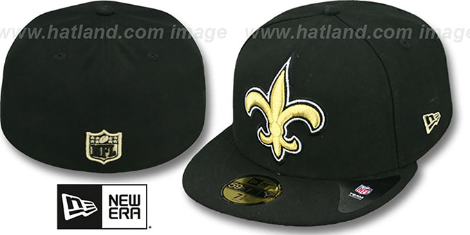 Saints NFL 'MIGHTY-XL' Black Fitted Hat by New Era : pictured without stickers that these products are shipped with