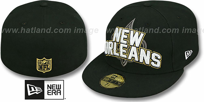 Saints 'NFL ONFIELD DRAFT' Black Fitted Hat by New Era : pictured without stickers that these products are shipped with