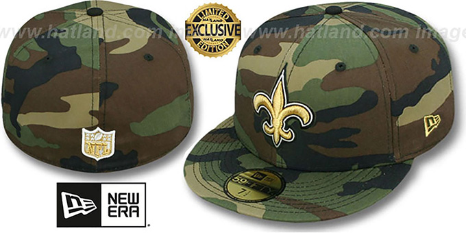 Saints NFL TEAM-BASIC Army Camo Fitted Hat by New Era 83f82153c