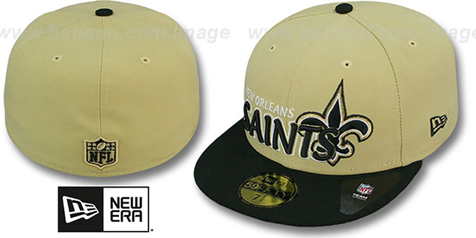 Saints 'NFL-TIGHT' Gold-Black Fitted Hat by New Era : pictured without stickers that these products are shipped with