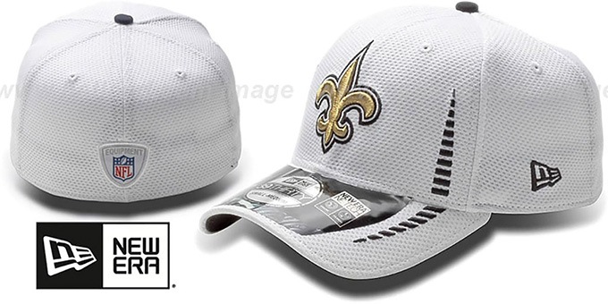 Saints 'NFL TRAINING FLEX' White Hat by New Era : pictured without stickers that these products are shipped with