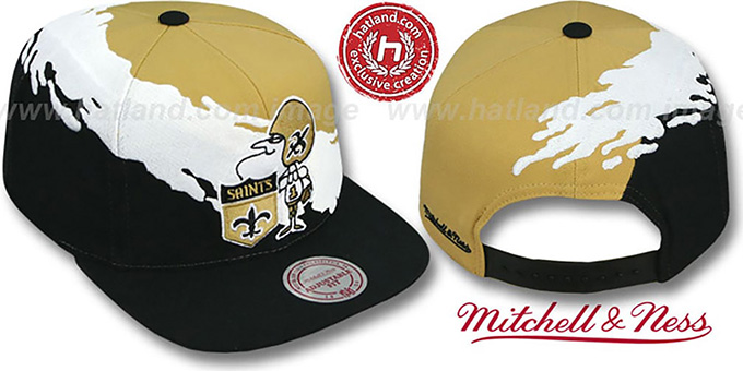 Saints 'PAINTBRUSH SNAPBACK' Gold-White-Black Hat by Mitchell & Ness : pictured without stickers that these products are shipped with