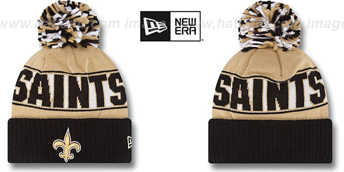 Saints 'REP-UR-TEAM' Knit Beanie Hat by New Era : pictured without stickers that these products are shipped with
