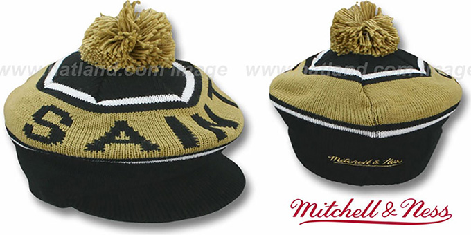 Saints 'RERUN KNIT BEANIE' by Mitchell and Ness : pictured without stickers that these products are shipped with