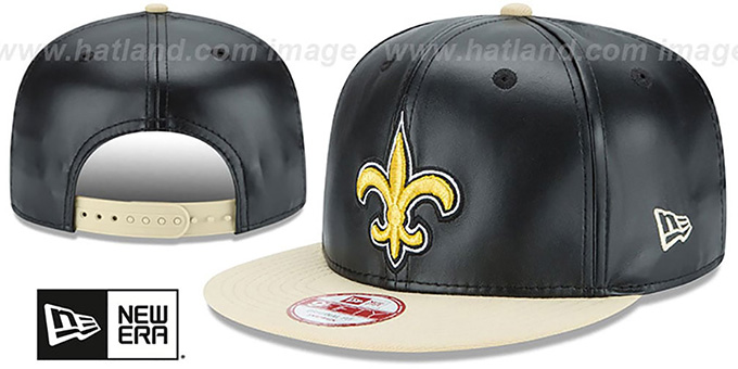 Saints 'SMOOTHLY STATED SNAPBACK' Black-Gold Hat by New Era : pictured without stickers that these products are shipped with