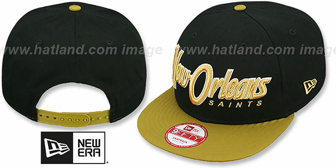Saints 'SNAP-IT-BACK SNAPBACK' Black-Gold Hat by New Era : pictured without stickers that these products are shipped with