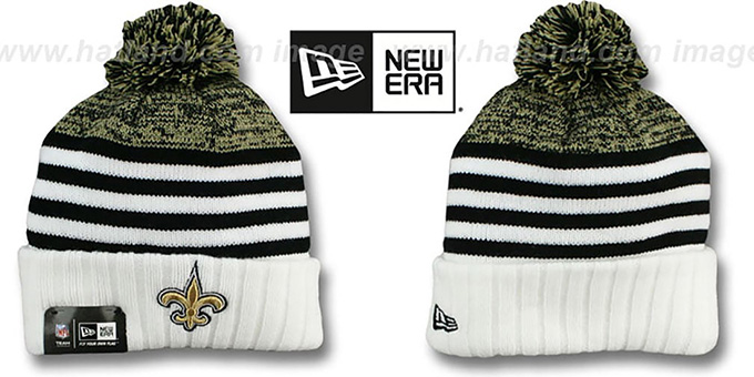 Saints 'SNOWFALL STRIPE' Knit Beanie Hat by New Era : pictured without stickers that these products are shipped with