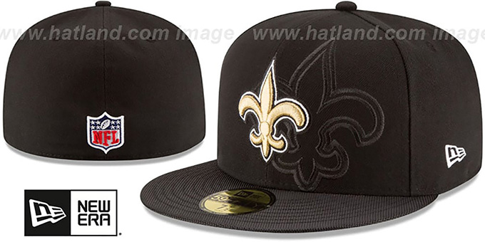 Saints 'STADIUM SHADOW' Black Fitted Hat by New Era : pictured without stickers that these products are shipped with