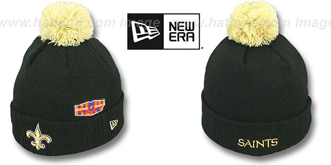 Saints 'SUPER BOWL PATCHES' Black Knit Beanie Hat by New Era : pictured without stickers that these products are shipped with