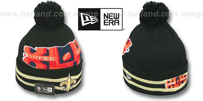 9e51312f1ebabf Saints 'SUPER BOWL XLIV' Black Knit Beanie Hat by New Era