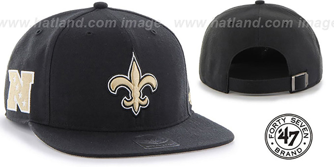 Saints 'SUPER-SHOT STRAPBACK' Black Hat by Twins 47 Brand : pictured without stickers that these products are shipped with