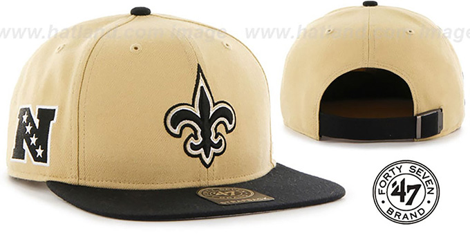 Saints 'SUPER-SHOT STRAPBACK' Gold-Black Hat by Twins 47 Brand : pictured without stickers that these products are shipped with