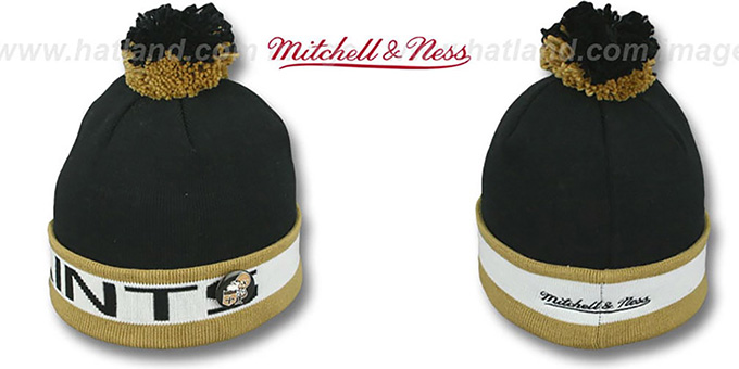 Saints 'THE-BUTTON' Knit Beanie Hat by Michell & Ness : pictured without stickers that these products are shipped with