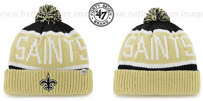 Saints 'THE-CALGARY' Gold-Black Knit Beanie Hat by Twins 47 Brand : pictured without stickers that these products are shipped with