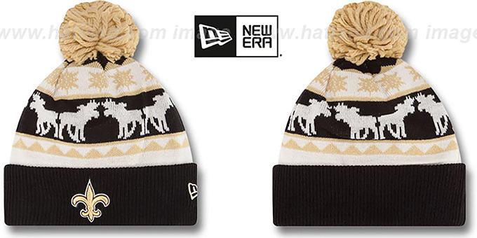 Saints 'THE-MOOSER' Knit Beanie Hat by New Era : pictured without stickers that these products are shipped with