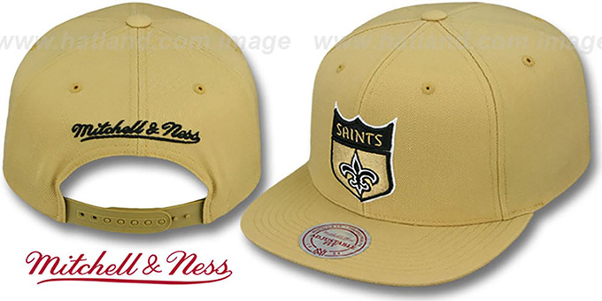 Saints 'THROWBACK-BASIC SNAPBACK' Gold Hat by Mitchell & Ness : pictured without stickers that these products are shipped with