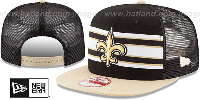Saints 'THROWBACK-STRIPE SNAPBACK' Black-Gold Hat by New Era : pictured without stickers that these products are shipped with