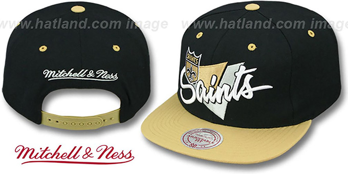 Saints  TRIANGLE-SCRIPT SNAPBACK  Black-Gold Hat by Mitchell and Ness 57702ae52b2