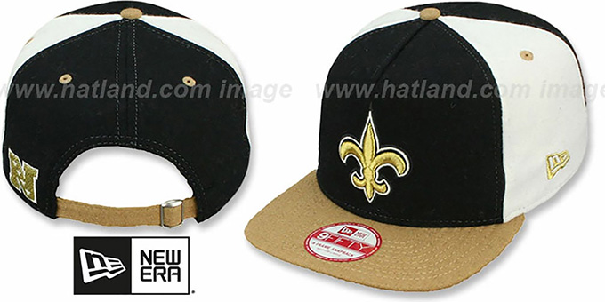Saints 'TRIPLE MELTON STRAPBACK' Black-White-Gold Hat by New Era : pictured without stickers that these products are shipped with