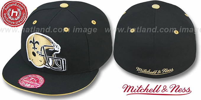 Saints 'XL-HELMET' Black Fitted Hat by Mitchell & Ness : pictured without stickers that these products are shipped with