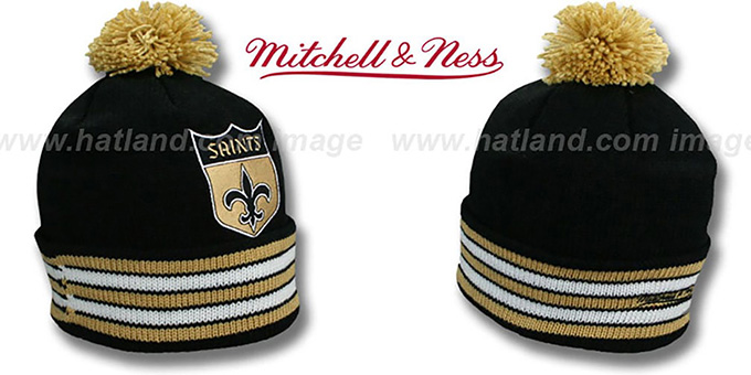 Saints 'XL-LOGO BEANIE' Black by Mitchell and Ness : pictured without stickers that these products are shipped with