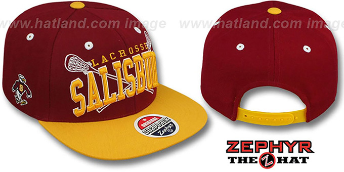 Salisbury 'LACROSSE SUPER-ARCH SNAPBACK' Burgundy-Gold Hat by Zephyr : pictured without stickers that these products are shipped with