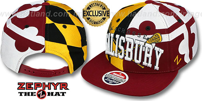 Salisbury 'LACROSSE SUPER-FLAG SNAPBACK' Hat by Zephyr : pictured without stickers that these products are shipped with