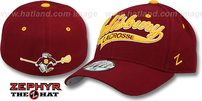 Salisbury 'SWOOP LACROSSE' Burgundy Fitted Hat by Zephyr : pictured without stickers that these products are shipped with