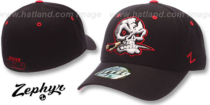 San Christobal 'DHS X-LINE' Black Fitted Hat by Zephyr : pictured without stickers that these products are shipped with